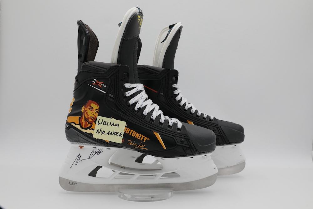 Willie O'Ree Custom Bauer Skates worn by William Nylander during pregame warmups - Toronto Maple Leafs