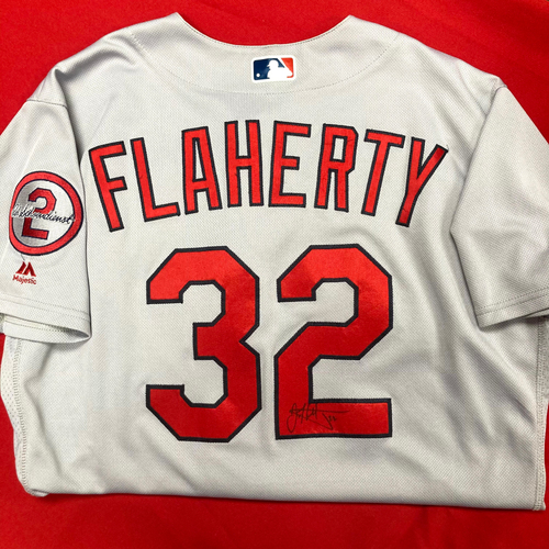 Photo of Jack Flaherty Autographed Game Used Road Jersey w/ Red Patch (STL @ NYM, 3/29/18) (Size 46)