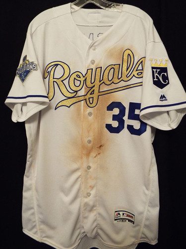 Kansas City Royals 2016 Opening Day Gold Jersey worn by Eric ...