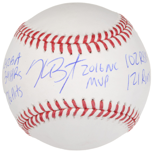 Photo of Kris Bryant Chicago Cubs Autographed Baseball with Multiple Inscriptions - Limited Edition of 50