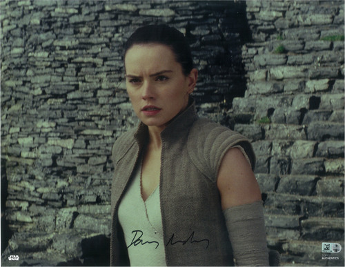 Daisy Ridley as Rey 11x14 Autographed in Black Ink Photo