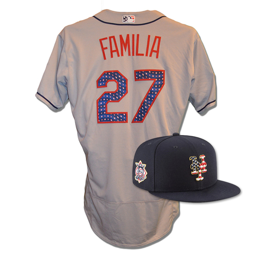 Photo of Jeurys Familia #27 - Game Used 4th of July Jersey and Hat - Familia 1 IP, 0 ER, Earns 16th Save - Mets vs. Blue Jays - 7/4/18