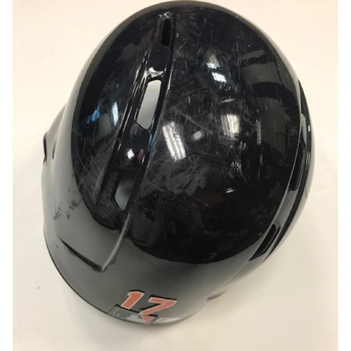 Photo of Game-Used Andrew Romine Road Helmet: Player all 9 positions