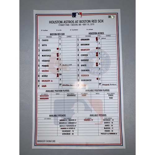 Photo of Houston Astros vs Boston Red Sox May 19, 2019 Game-Used Lineup Card - Red Sox Win 4 to 3