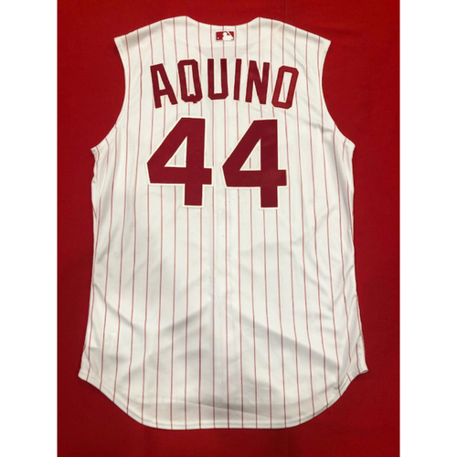Aristides Aquino -- Game-Used 1995 Throwback Jersey -- D-backs vs. Reds on Sept. 8, 2019 -- Jersey Size 46