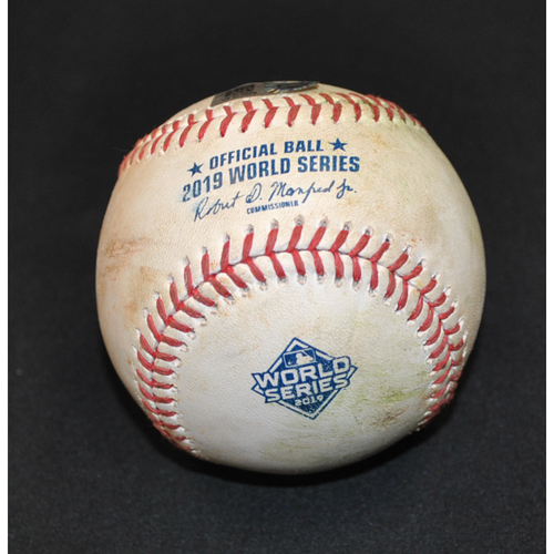 Photo of Game-Used Baseball: 2019 World Series - Game 2: Pitcher: Justin Verlander, Batter: Adam Eaton (Single) - Top 1