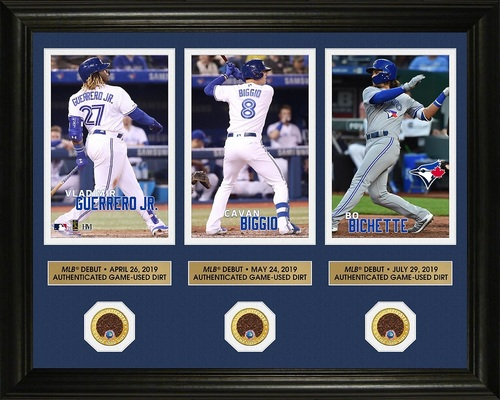 "Photo of Toronto Blue Jays 2019 MLB Debut Frame (Bichette, Biggio, Guerrero Jr) with Game Used Dirt Coins by Highland Mint- 16"" by 20"""