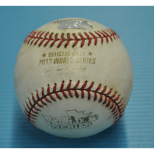 Photo of Game-Used Baseball - 2013 World Series - Boston Red Sox vs. St. Louis Cardinals - Batter - Matt Carpenter, Pitcher - Clay Buchholz - Bottom 3 - Single - 10/27/2013