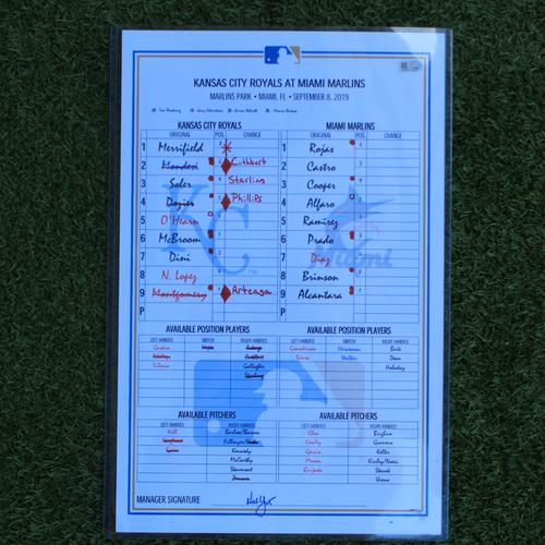 Photo of Game-Used Lineup Card: Sandy Alcantara Shuts out Royals (KC @ MIA - 9/8/19)