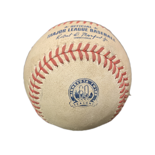 Photo of Game-Used Baseball - Brewers at Twins - Lewis Thorpe to Christian Yelich - Strike out - Lewis Thorpe to Keston Hiura single to LF  - Top 6 - August 19th, 2020