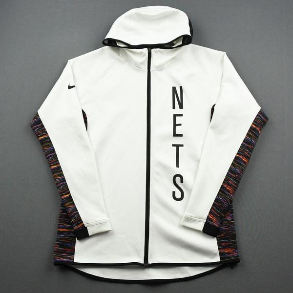 Image of Chris Chiozza - Brooklyn Nets - Game-Issued Earned Edition Game Theater Jacket  - 2019-20 NBA Season