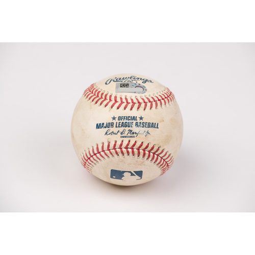 Photo of Game Used Baseball: Pitcher: Mike Fiers, Batter: Brian Goodwin - Home Run - Bot 4 - 8-11-2020 vs. OAK