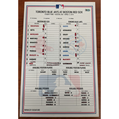 Red Sox vs. Blue Jays Fenway Park Opening Day April 9, 2019 Game Used Line Up Card - Blue Jays Win 7 to 5