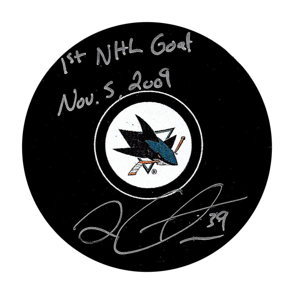 Logan Couture Autographed San Jose Sharks Puck w/1st NHL GOAL Nov. 5, 2009 Inscription