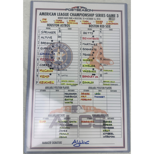 Photo of 2018 ALCS Game 3 Game-Used Line Up Card