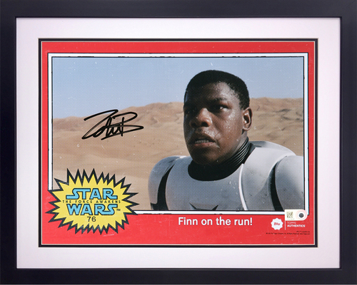 John Boyega as FN-2187 8x10 Autographed in Black Ink Framed Photo - 1977 Topps Design