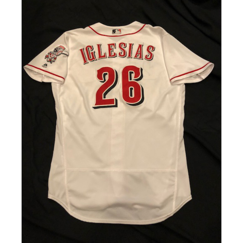 Photo of Raisel Iglesias -- Game-Used Jersey -- 4-Save Jersey, Worn Throughout 2017 Season