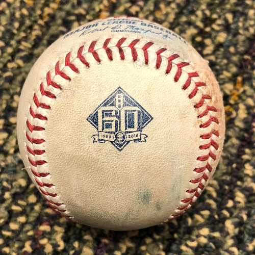 Photo of 2018 San Francisco Giants - 2018 Game Used Baseball - Ryu Strikes out Brandon Belt - 4/27/2018 vs. Los Angeles Dodgers - (Also Jackson - Foul Ball)