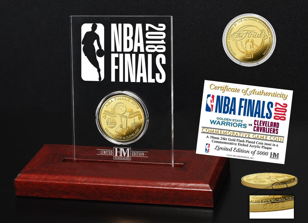 Serial #1! 2018 NBA Finals Dueling Gold Coin Etched Acrylic (Cavs vs GSW)