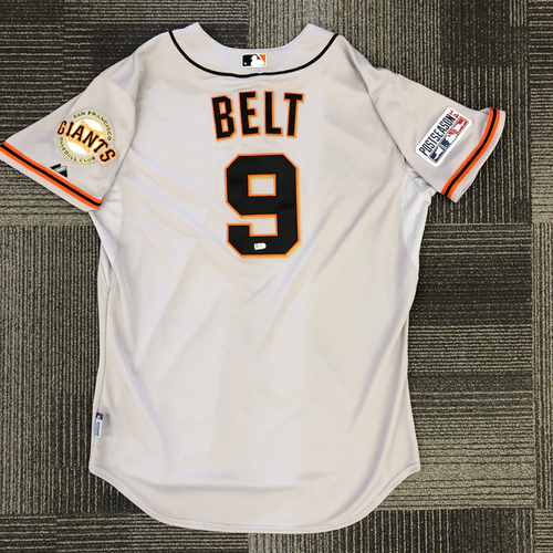 Photo of 2014 Postseason Game Used Jersey - NLCS Game 2 @ St. Louis Cardinals - Used by #9 Brandon Belt - 1-3, 1 R - Size 48
