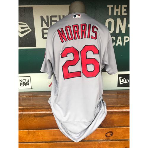 Photo of Cardinals Authentics: Game Worn Bud Norris Road Grey Jersey