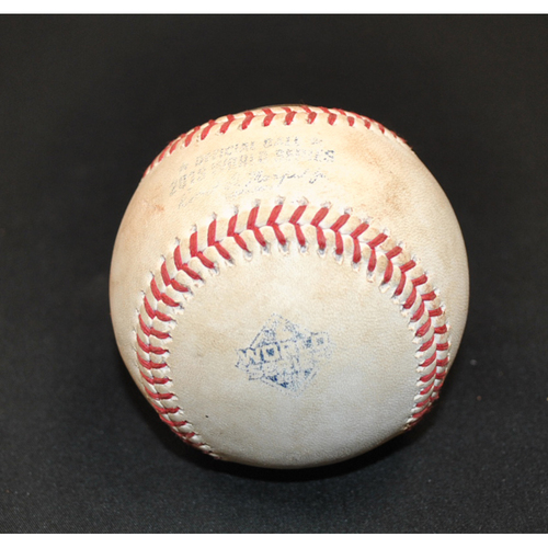 Photo of Game-Used Baseball: 2019 World Series - Game 2: Pitcher: Stephen Strasburg, Batter: Carlos Correa (Pop Out) - Bot 6