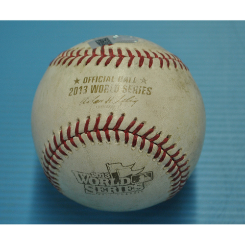 Photo of Game-Used Baseball - 2013 World Series - Boston Red Sox vs. St. Louis Cardinals - Batter - Jonny Gomes, Pitcher - John Axford - Top 8 - Strike 1 - Throw to 2nd base, Stolen Base by Quentin Berry - 10/27/2013