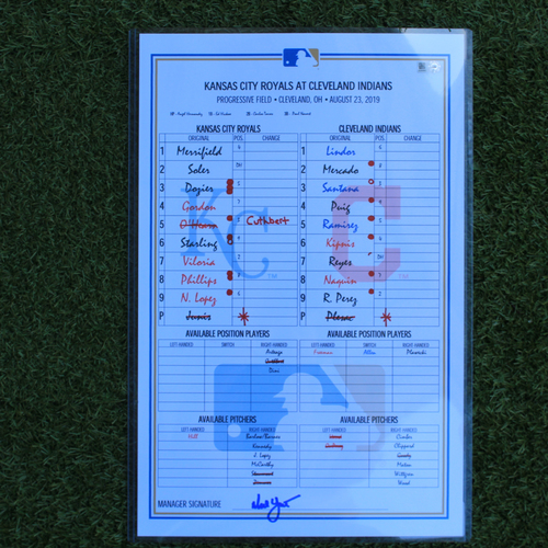 Photo of Game-Used Lineup Card: Francisco Lindor 120th Career Home Run (KC @ CLE - 8/23/19)