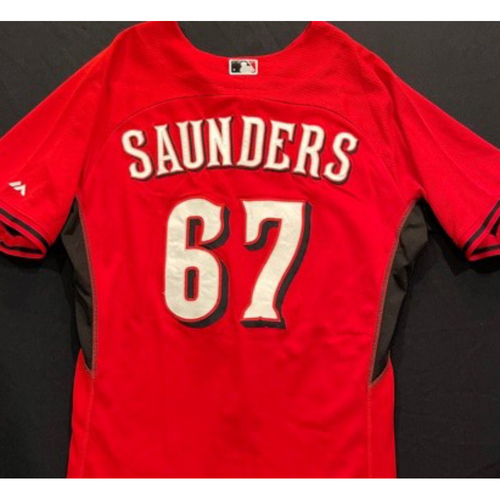 Photo of SAUNDERS-67 -- Authentic Reds Jersey -- $1 Jersey Auction -- $5 Shipping -- Size 46 (Not MLB Authenticated)