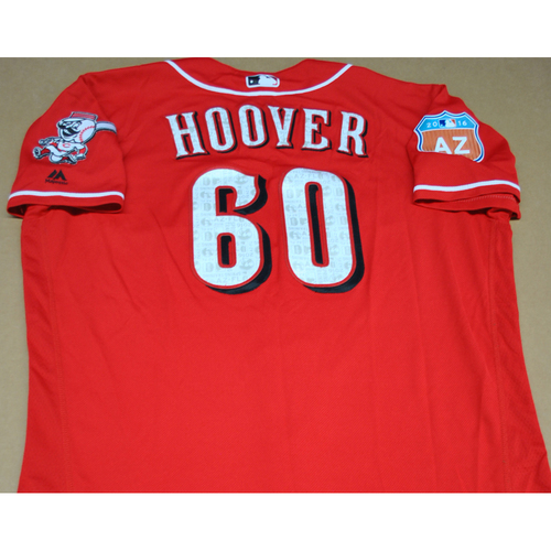 Photo of Game-Used 2016 Spring Training Jersey - JJ Hoover - Size 48 - Cincinnati Reds
