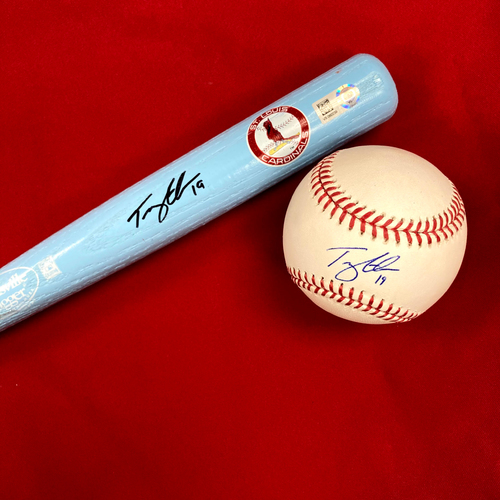 Photo of Tommy Edman Autographed Baseball and Mini Bat
