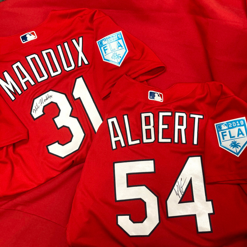 Photo of Jeff Albert Autographed Team Issued 2019 Spring Training Jersey (Size 44) and Mike Maddux Autographed Team Issued 2019  Spring Training Jersey (Size 46)