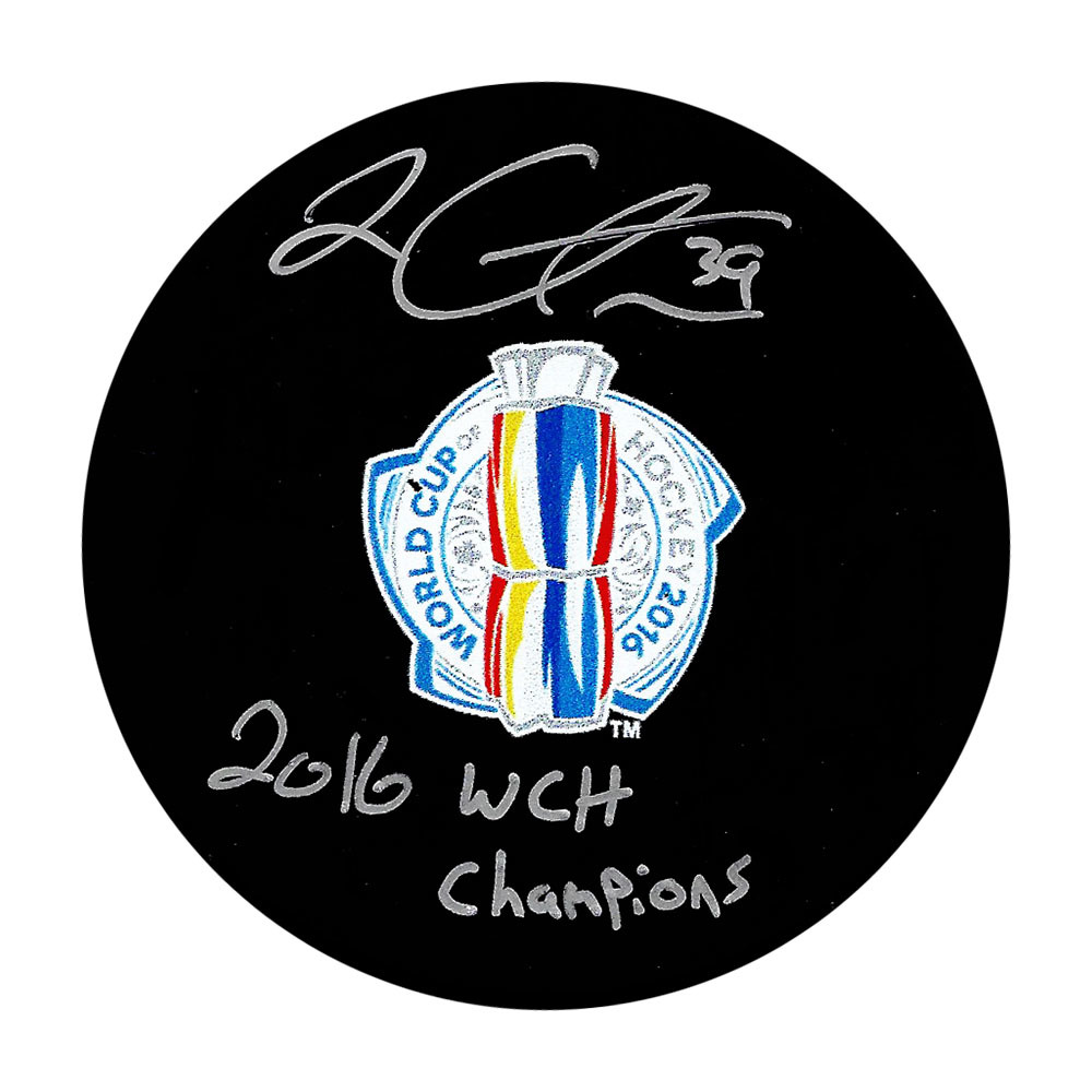 Logan Couture Autographed 2016 World Cup of Hockey Puck w/2016 WCH CHAMPIONS Inscription