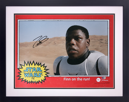John Boyega as FN-2187 on Jakku Autographed in Black Ink 16x20 Framed Photo - 1977 Topps Design