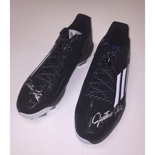 Photo of Black and Gray Autographed Justin Upton Pair of Game Cleats