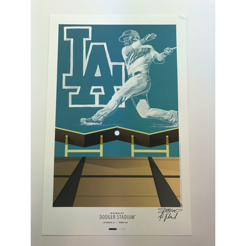 Dodgers Stadium Art Print by S. Preston with Original Remarque by Armando Villarreal