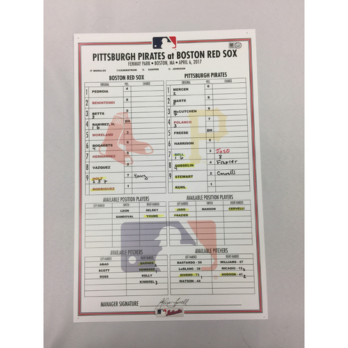 Pirates vs Red Sox April 13, 2017 Game-Used Lineup Card - Makeup Game from April 6, 2017, Red Sox Win 4 - 3