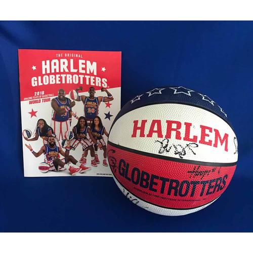 Photo of UMPS CARE AUCTION: Harlem Globetrotters Signed Basketball and 2018 World Tour Program - Not MLB Authenticated