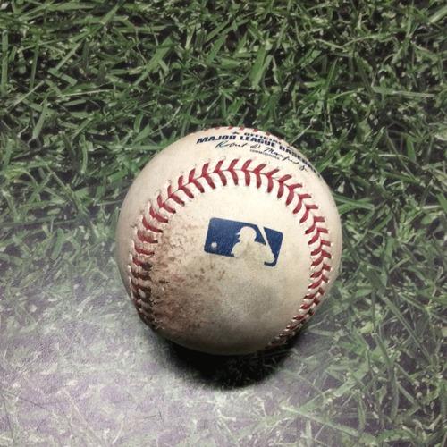 Photo of Game-Used Baseball LAD@MIL 04/20/19 - Hyun-Jin Ryu - Lorenzo Cain: Strikeout
