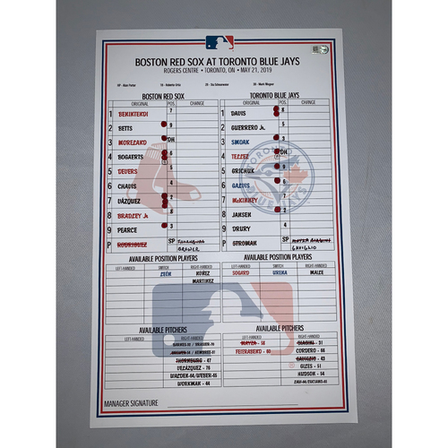 Photo of Boston Red Sox vs Toronto Blue Jays May 21, 2019 Game-Used Lineup Card - Blue jays Win 10 to 3