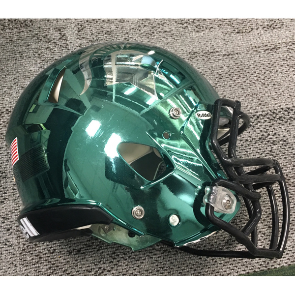 Photo of Game-Worn Spartan Football Chrome Helmet - Unsigned