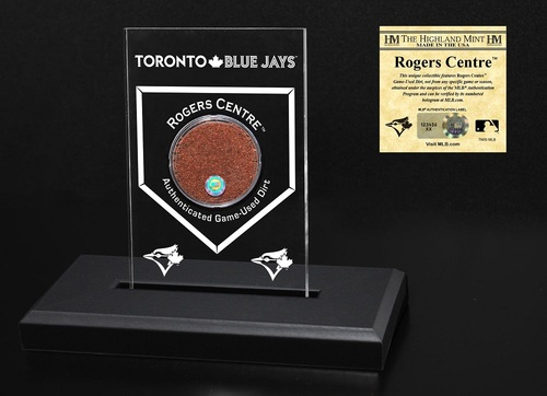"Photo of Toronto Blue Jays 3"" by 5"" Acrylic Home Plate Stand with Game Used Dirt by Highland Mint"
