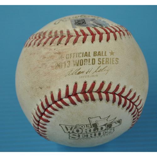 Photo of Game-Used Baseball - 2013 World Series - Boston Red Sox vs. St. Louis Cardinals - Batter - David Freese, Pitcher - John Lackey - Top 2 - Ball - Game 6 - 10/30/2013