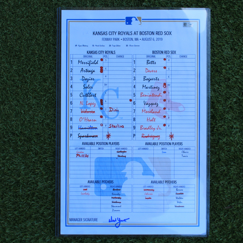 Photo of Game-Used Lineup Card: Brock Holt Walk-Off Single Ends Game in 12 Minutes (KC @ BOS - 8/7/19 & 8/22/19)