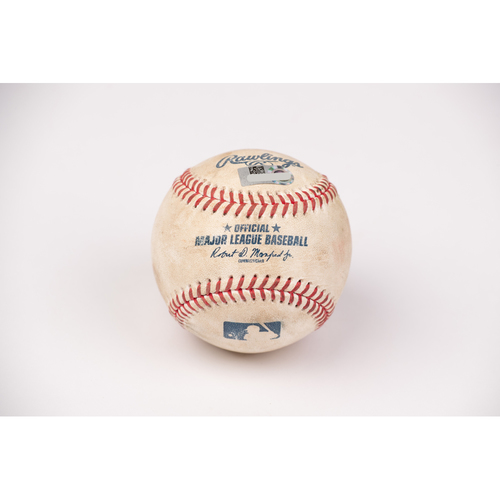 Photo of Game Used Baseball: Pitcher: Griffin Canning, Batter: Mark Canha - Double - Top 2 - 8-12-2020 vs. OAK