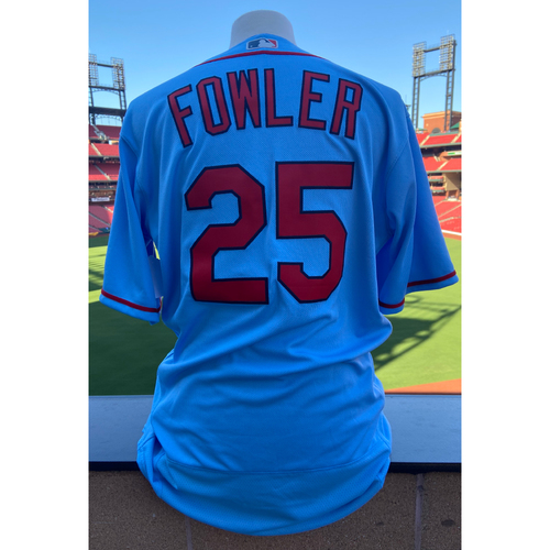 Photo of Cardinals Authentics: Team Issued Dexter Fowler Road Alternate Blue Jersey