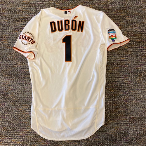 Photo of 2021 Game Used Home Cream Jersey with SF Logo Pride Patch - #1 Mauricio Dubon - Worn 6/5/21 vs CHC - Size 44