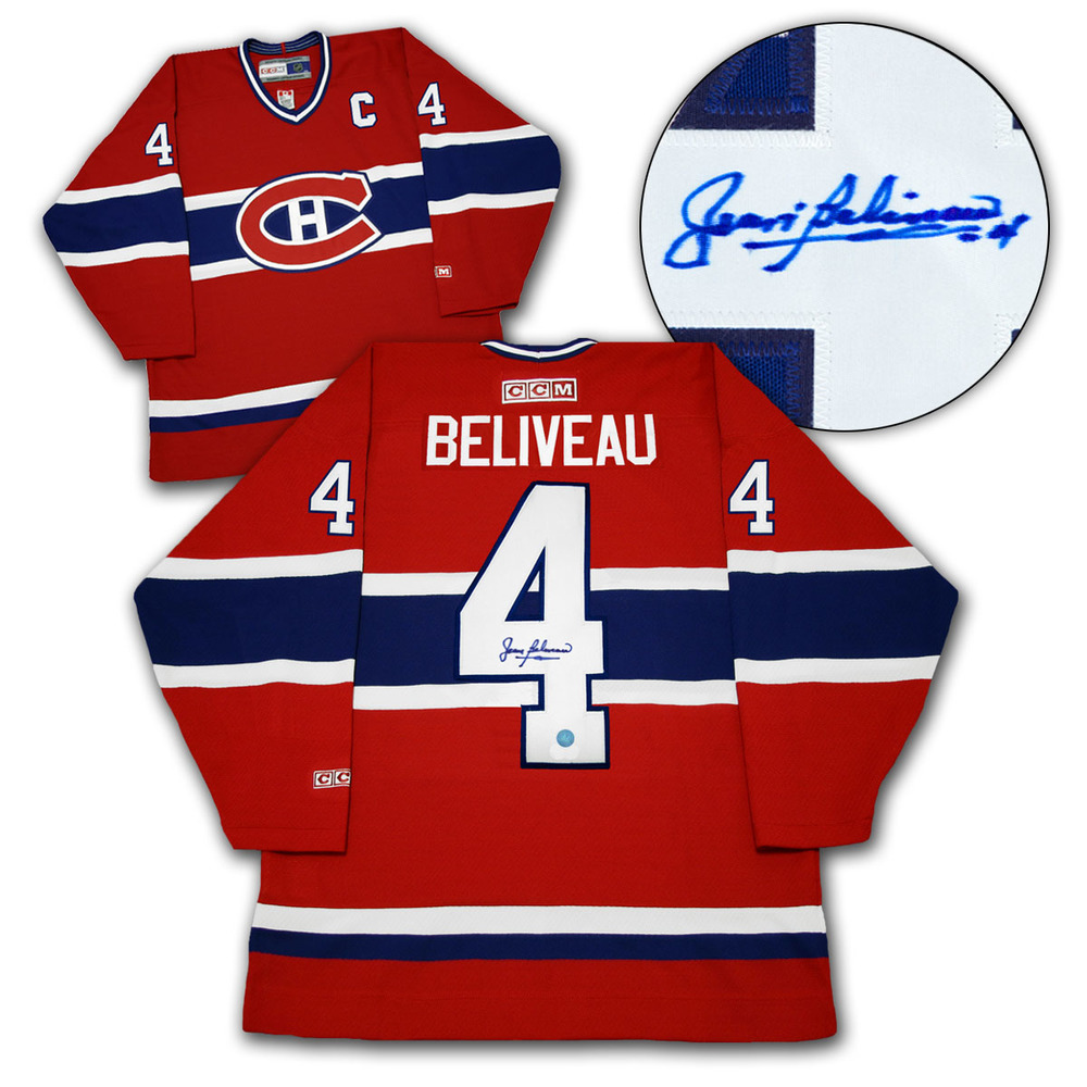 Jean Beliveau Montreal Canadiens Autographed Retro Hockey Jersey *Autograph Slightly Blurry*