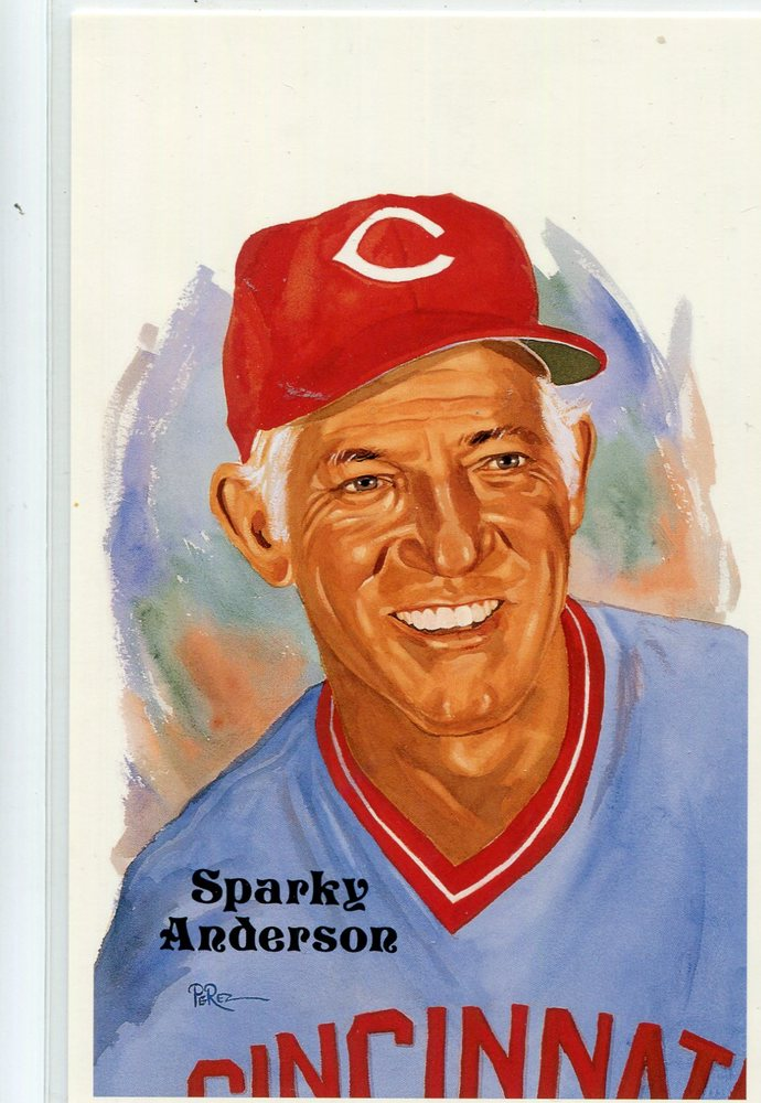 1980-02 Perez-Steele Hall of Fame Postcards #245 Sparky Anderson -- HOF Class of 2000