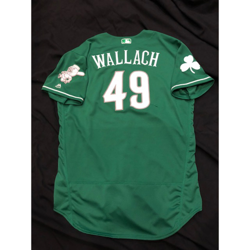 Photo of Chad Wallach -- Game-Used Irish Heritage Jersey -- BOS vs. CIN on 9/23/17